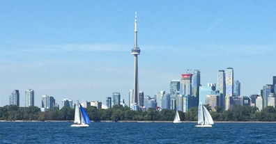 Panoramic view of the Toronto harbourfront and downtown where the Toronto Law firm of Fernandes Hearn is located.