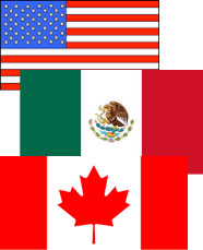 Image of the Mexican, Canadian and American flags to symbolize our involvement with cross border law.