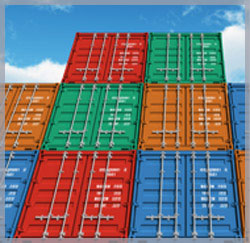Image of shipping containers to symbolize our involvement with freight forwarding and logistics.