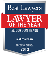 Lawyer of the year button with logo presented to Gordon Hearn for 2013.