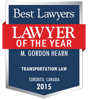 Lawyer of the year button with logo presented to Gordon Hearn for 2015.