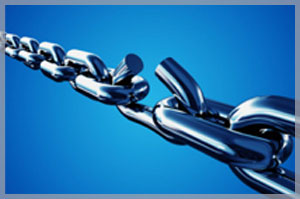 Image of metal chain with breaking link in the middle to symbolize our involvement with product liability law.