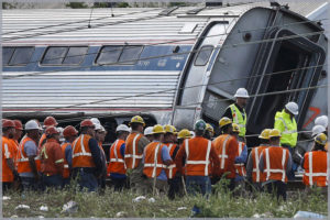 Image of a train wreck to symbolize our involvement with transportation casualty law.