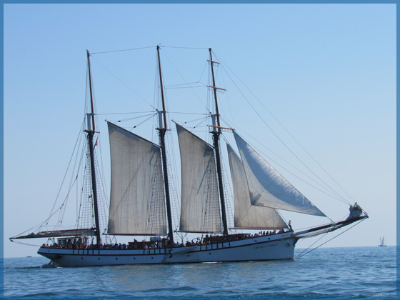 The three masted schooner Empire Sandy at the Harbour Front in Toronto for the January 2017 newsletter.